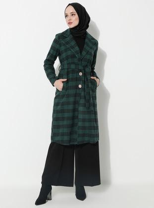 Green - Plaid - Unlined - Shawl Collar -  - Coat