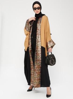 Camel - Black - Unlined - Shawl Collar -  - Abaya
