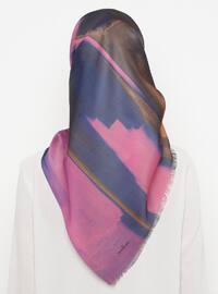 Fuchsia - Blue - Printed - Scarf