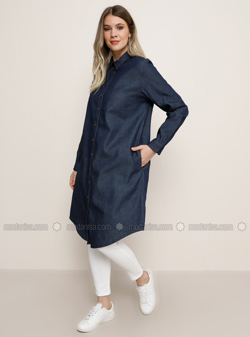 Navy Blue - Point Collar - Denim - Cotton - Plus Size Tunic