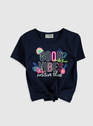 Navy Blue - Girls` T-Shirt - LC WAIKIKI