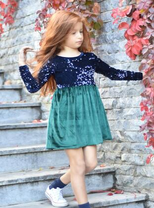 Green - Girls` Dress