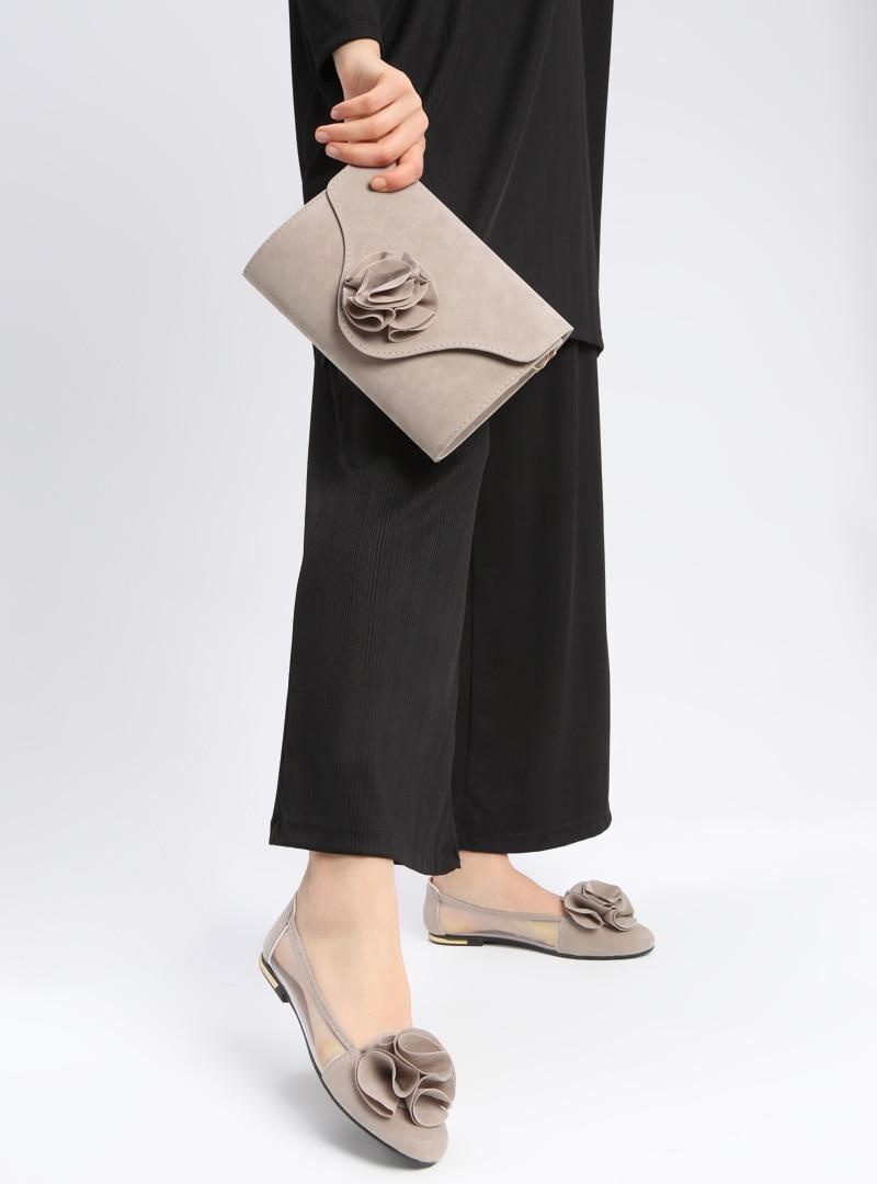 Tesettür Ayakkabı & Çanta Takım Art Shoes Gri Kadın 40