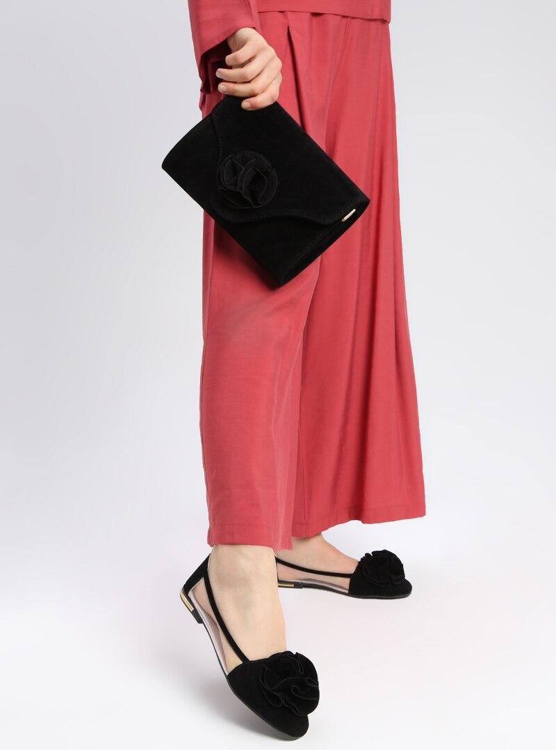 Tesettür Ayakkabı & Çanta Takım Art Shoes Siyah Kadın 39