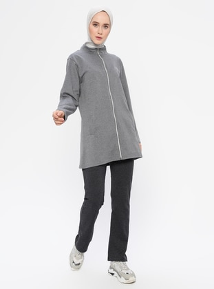 Anthracite - Gray -  - Polo neck - Tracksuit Set