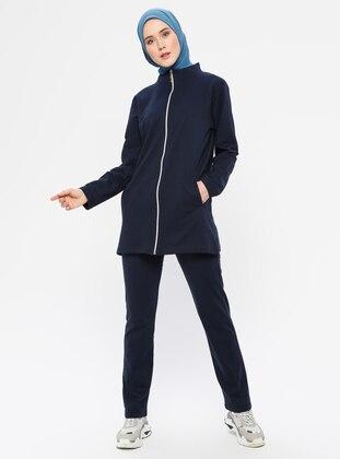 Navy Blue -  - Polo neck - Tracksuit Set