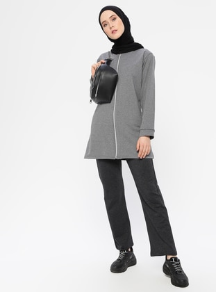 Anthracite - Gray -  - Crew neck - Tracksuit Set