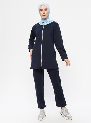 Navy Blue -  - Crew neck - Tracksuit Set