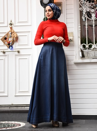 Navy Blue - Unlined -  - Skirt