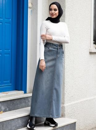 Gray - Unlined - Denim -  - Skirt