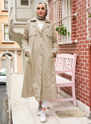 Beige - Fully Lined - Point Collar - Trench Coat