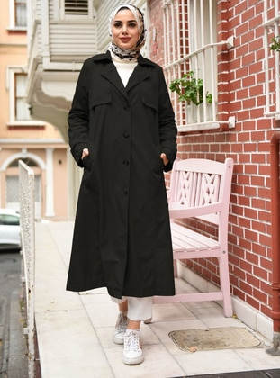 Black - Fully Lined - Point Collar - Trench Coat
