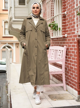Mink - Fully Lined - Point Collar - Trench Coat