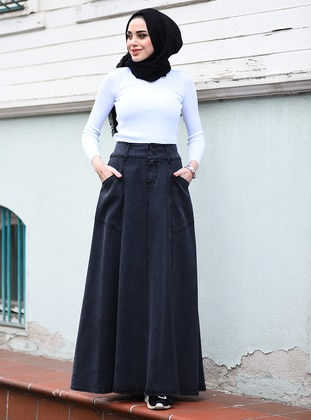 Black - Unlined - Denim - Skirt