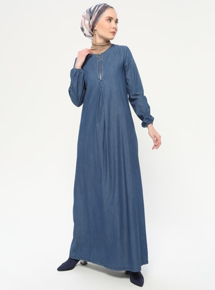 Indigo - Navy Blue - Crew neck - Unlined - Denim - Cotton -  - Dress