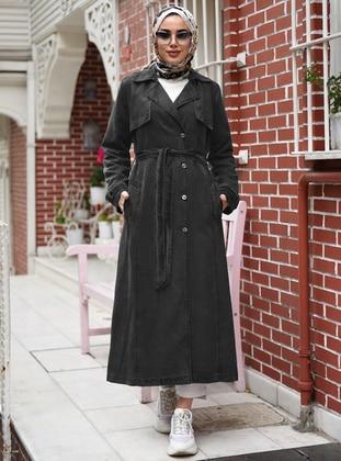 Gray - Unlined - V neck Collar -  - Trench Coat