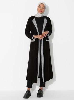 Black - Shawl Collar -  - Cardigan