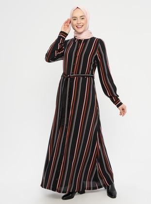 Black - Stripe - Point Collar - Fully Lined - Dress