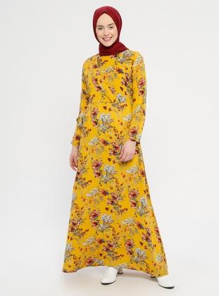 Mustard - Multi - Crew neck - Unlined - Viscose - Dress