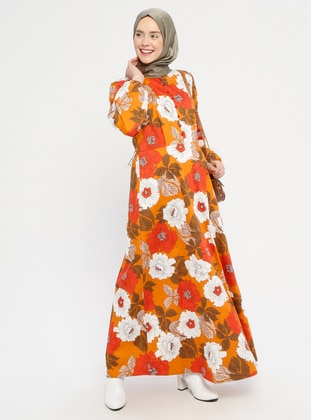 Orange - Floral - Crew neck - Unlined -  - Dress