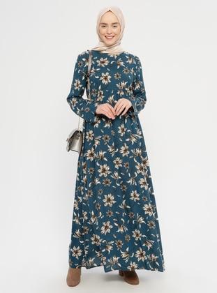 Petrol - Floral - Crew neck - Unlined - Viscose - Dress