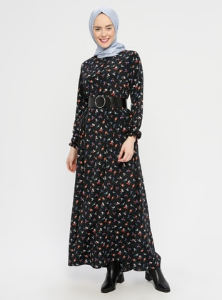 Black - Floral - Crew neck - Unlined - Viscose - Dress