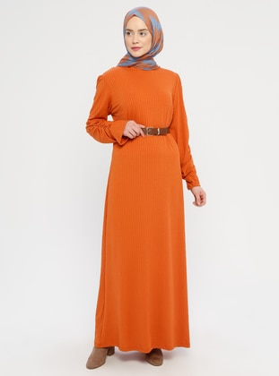 Orange - Polo neck - Unlined -  - Dress