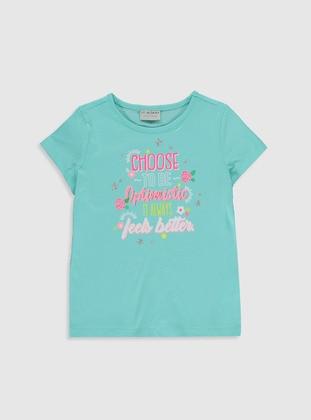 Turquoise - Girls` T-Shirt - LC WAIKIKI