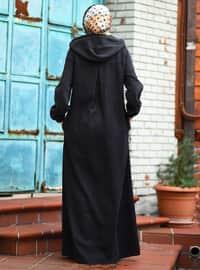 Siyah - Astarsız Kumaş - Kot - Ferace