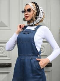 Navy Blue - Blue - Unlined - Denim - Modal - - Jumpsuit