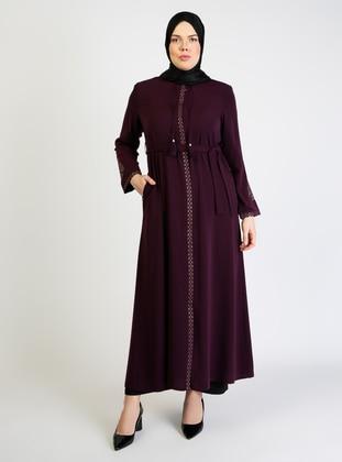 Plum - Crew neck - Unlined - Plus Size Abaya - Jamila