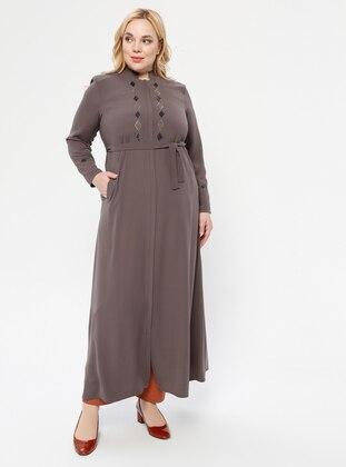 Mink - Crew neck - Unlined - Plus Size Abaya