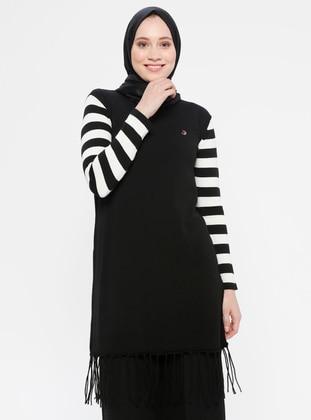 White - Ecru - Black - Stripe - Crew neck - Acrylic -  - Tunic