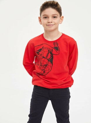 Red - Boys` Sweatshirt - DeFacto