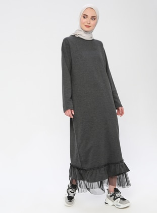 Anthracite - Crew neck - Unlined -  - Dress