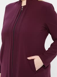Plum - Crew neck - Unlined - Plus Size Abaya