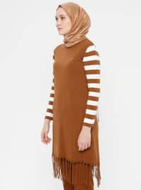 White - Ecru - Tan - Stripe - Crew neck - Acrylic -  - Tunic