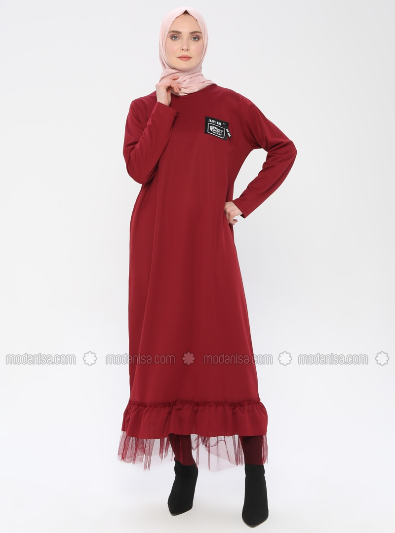 Maroon - Crew neck - Unlined - Dress
