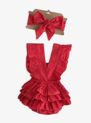 V neck Collar -  - Red - Baby Suit