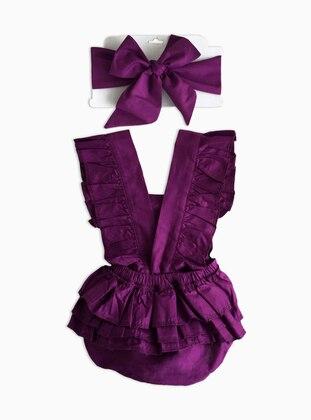 V neck Collar -  - Purple - Baby Suit