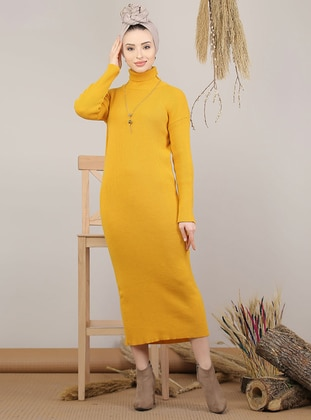 Mustard - Unlined - Polo neck - Acrylic - Knit Dresses