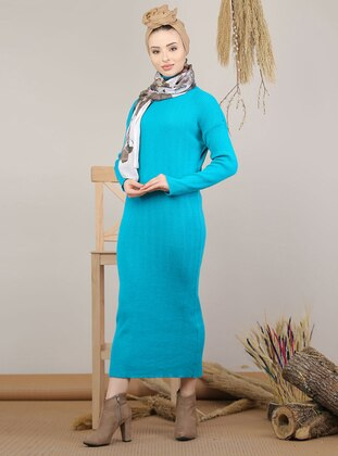 Mint - Unlined - Polo neck - Acrylic - Knit Dresses