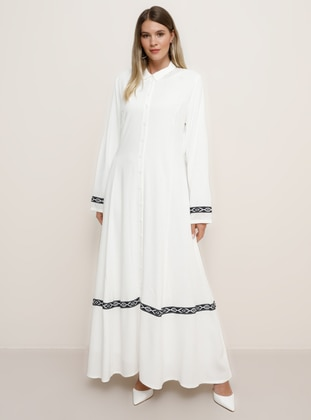 Ecru - Unlined - Point Collar - Viscose - Plus Size Dress