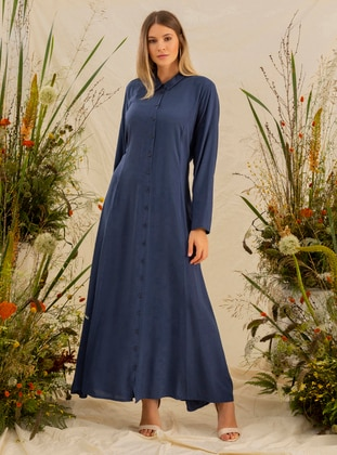 Navy Blue - Unlined - Point Collar - Viscose - Plus Size Dress