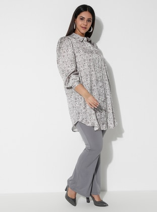 Gray -  - Plus Size Pants