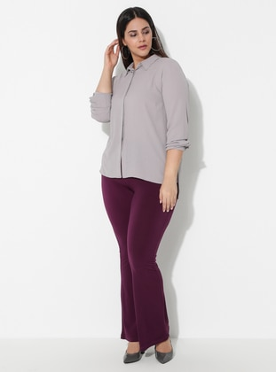 Plum -  - Plus Size Pants