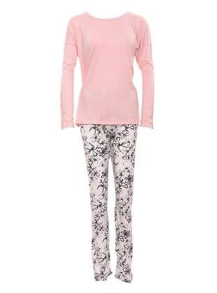 Pink - Crew neck - Viscose - Pyjama