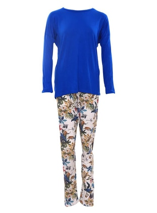 Blue - Crew neck - Viscose - Pyjama