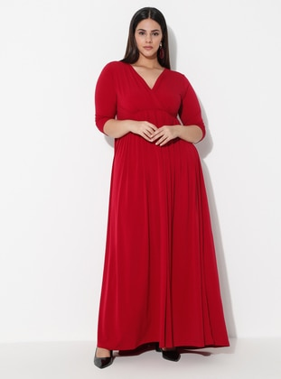 Red - Unlined - V neck Collar -  - Plus Size Dress