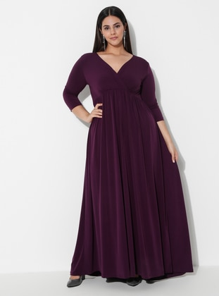 Plum - Unlined - V neck Collar -  - Plus Size Dress
